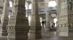 India Rajasthan Ranakpur Jain temple intricately carved base of columns 29 Stock Footage