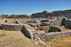 roman baths ruins of conimbriga - stock photo