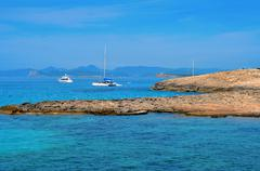 Ses illetes coast in formentera, balearic islands, spain Stock Photos