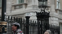 Downing St Sign down tilt Stock Footage