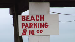"""Beach Parking $10"" sign Stock Footage"
