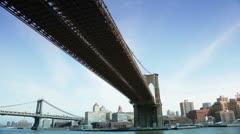 City Tour Under The Brooklyn Bridge, New York Stock Footage