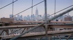 Brooklyn Bridge and Skyscrapers , New York Stock Footage