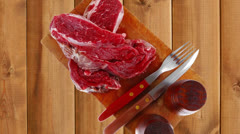 Raw steak ready to prepare Stock Footage