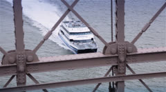 Boat Seen under The Brooklyn Bridge, New York Stock Footage