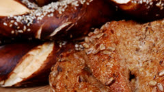 Hot rural french round rye breads Stock Footage