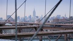 Skyscrapers seen from the Brooklyn Bridge, New York Stock Footage