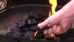 Lighting Coals BBQ Grill Backyard Barbeque Cook Food Start Fire Flames Lighter  Stock Footage