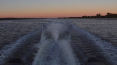 Boat wake from aft at dusk - stock footage