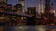 Stock Video Footage of Brooklyn Bridge View at Night, New York