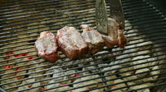 Rotating Tenderloins on the Grill Stock Footage