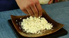 Spreading Feta Cheese Stock Footage