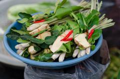 "Set of tropical herb and ingredient prepared of cooking ""tom yam"" Stock Photos"