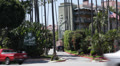 Los Angeles, Beverly Hills Hotel, Palm Trees, Car Traffic, Sunset Boulevard, USA Footage