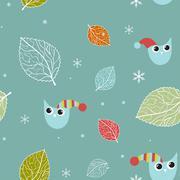 Vintage seamless background with birds - stock illustration