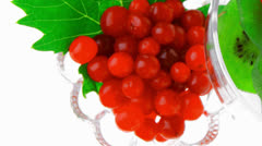 Served berrys in transparent glass Stock Footage