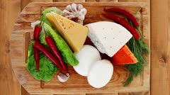 Several soft and hard types of french cheese Stock Footage