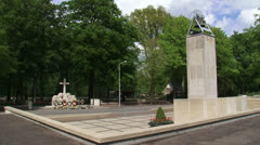 Bell tower + Monument with Cross of Remembrance, Grebbeberg - stock footage