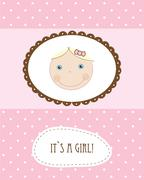 Vintage baby girl arrival announcement card. - stock illustration