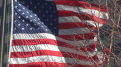 American's flag waving and modern building, USA - stock footage