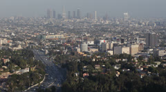 Rush Hour Freeway Los Angeles Skyline Aerial View Hollywood Downtown Highway Day - stock footage