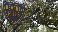 Beverly Hills Sign, Famous place, Street Sign, Los Angeles, California, Blue Sky Stock Footage