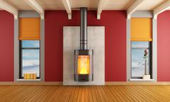 Fireplace in a house in the mountains Stock Illustration