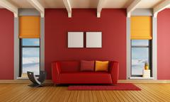 red living room of a house in the mountains - stock illustration