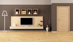 brown living room with led tv - stock illustration