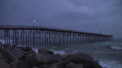 Pier and waves at dusk 2, 12fps @600% Stock Footage