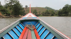 Long Tail Boat On River In Thailand Stock Footage