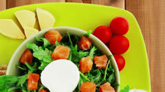 Image of green salad with smoked salmon Stock Footage