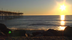 Pier sunrise 3, wide, 12fps @ 2200% Stock Footage