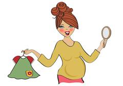 Happy pregnant woman at shopping, isolated on white background Stock Illustration