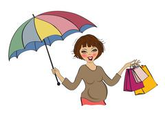 happy pregnant woman at shopping, isolated on white background - stock illustration