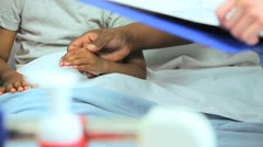 Hands Female Ethnic Children's Nurse Young Girl Hospital  Bed - stock footage