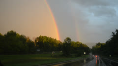 Double rainbow from highway Stock Footage