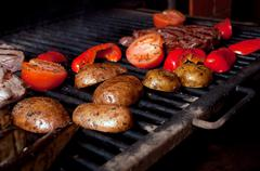 Argentinian cooking meat  barbecue Stock Photos