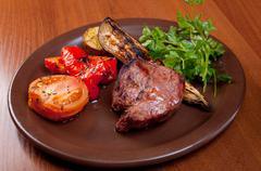 Grilled beef  - steak Stock Photos