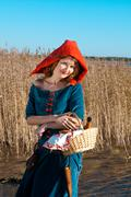Red riding  hood standing Stock Photos