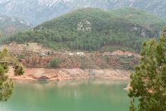 views of the azure lake - stock photo