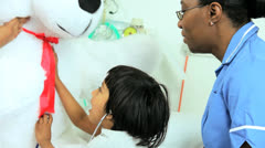 Little Ethnic Child Hospital Patient Playing Soft Toy Stock Footage