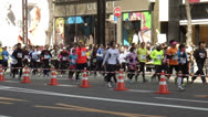 Athletes in the Tokyo Marathon Stock Footage