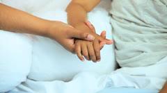 Hands Multi Ethnic Nursing Staff Mother Child Patient Close Up - stock footage