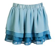 blue satin mini skirt - stock photo