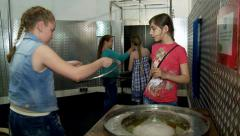 "Making larger soap bubbles. Moscow Museum of Science ""Experimentanium"". Stock Footage"