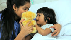 Little Ethnic Child Pediatric Hospital Ward Close Up - stock footage
