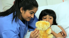 Close Up Asian Indian Female Child Patient Nursing Staff Stock Footage