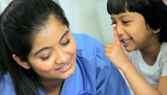 Female Ethnic Children's Nurse Young Girl Hospital  Bed Close Up - stock footage