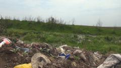 Walking in Garbage, Pollution, Polluted Area Stock Footage